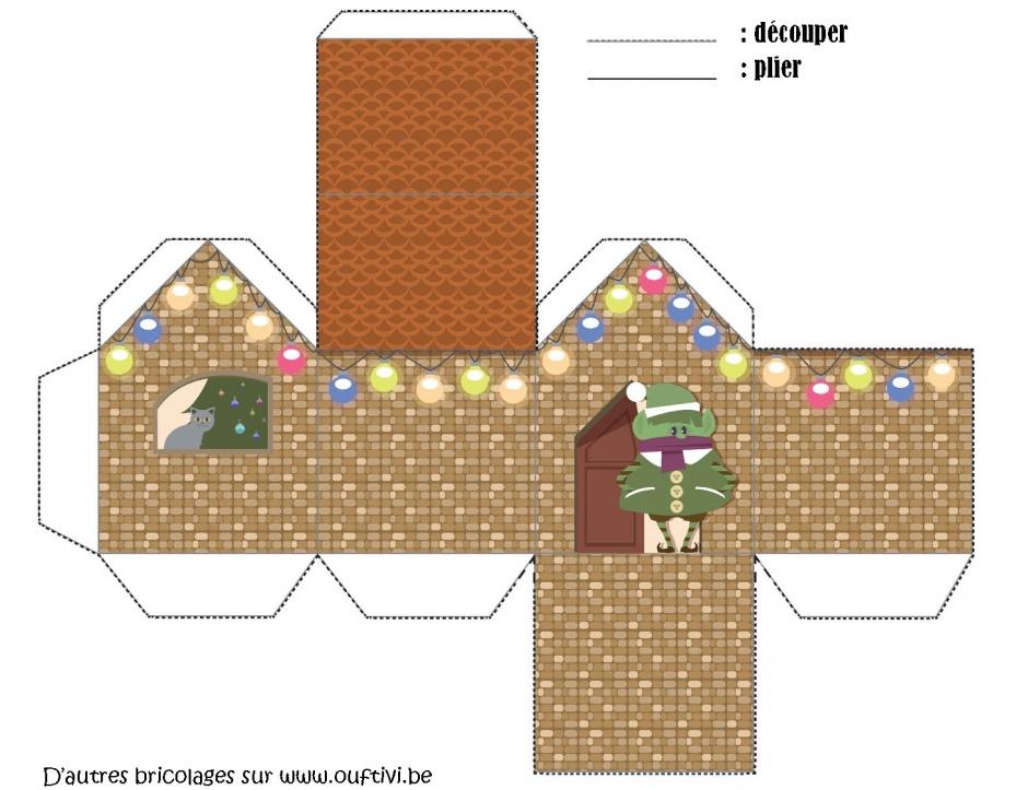 D cos de no l village maison tutoriel gratuit diy for Maison papier a decouper
